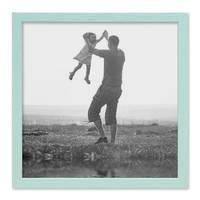 Bilderrahmen Blau 40x40 cm Massivholz mit Acrylglasscheibe / Fotorahmen Hellblau / Wechselrahmen – Bild 3