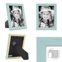 3er Set Bilderrahmen Blau 10x15 cm Massivholz mit Acrylglasscheibe / Fotorahmen Hellblau / Wechselrahmen – Bild 2