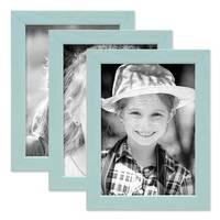 3er Set Bilderrahmen Blau 13x18 cm Massivholz mit Acrylglasscheibe / Fotorahmen Hellblau / Wechselrahmen
