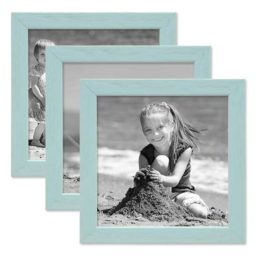 3er Set Bilderrahmen Blau 15x15 cm Massivholz mit Acrylglasscheibe / Fotorahmen Hellblau / Wechselrahmen