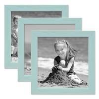 3er Set Bilderrahmen Blau mit Acrylglas 15x15 cm