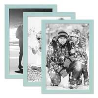 3er Set Bilderrahmen Blau 20x30 cm Massivholz mit Acrylglasscheibe / Fotorahmen Hellblau / Wechselrahmen – Bild 4