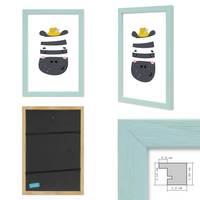 3er Set Bilderrahmen Blau 21x30 cm / DIN A4 Massivholz mit Acrylglasscheibe / Fotorahmen Hellblau / Wechselrahmen – Bild 2
