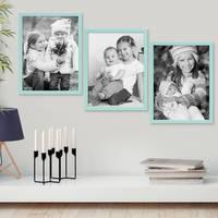 3er Set Bilderrahmen Blau 30x42 cm / DIN A3 Massivholz mit Acrylglasscheibe / Fotorahmen Hellblau / Wechselrahmen – Bild 4