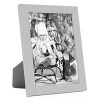 Bilderrahmen Grau 10x15 cm Massivholz mit Acrylglasscheibe / Fotorahmen Hellgrau / Wechselrahmen – Bild 1