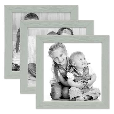 3er Set Bilderrahmen Grau 10x10 cm Massivholz mit Acrylglasscheibe / Fotorahmen Hellgrau / Wechselrahmen