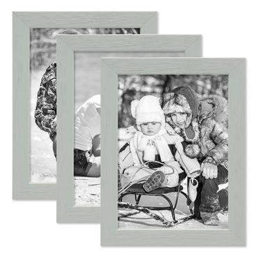 3er Set Bilderrahmen Grau 13x18 cm Massivholz mit Acrylglasscheibe / Fotorahmen Hellgrau / Wechselrahmen
