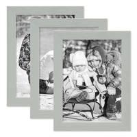 3er Set Bilderrahmen Grau 13x18 cm Massivholz mit Acrylglasscheibe / Fotorahmen Hellgrau / Wechselrahmen – Bild 1
