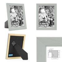 3er Set Bilderrahmen Grau 15x15 cm Massivholz mit Acrylglasscheibe / Fotorahmen Hellgrau / Wechselrahmen – Bild 2