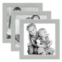 3er Set Bilderrahmen Grau mit Acrylglas 15x15 cm