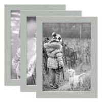3er Set Bilderrahmen Grau 18x24 cm Massivholz mit Acrylglasscheibe / Fotorahmen Hellgrau / Wechselrahmen – Bild 1