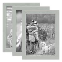 3er Set Bilderrahmen Grau mit Acrylglas 18x24 cm