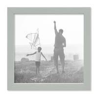 3er Set Bilderrahmen Grau 20x20 cm Massivholz mit Acrylglasscheibe / Fotorahmen Hellgrau / Wechselrahmen – Bild 4