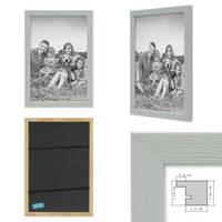 3er Set Bilderrahmen Grau 20x20 cm Massivholz mit Acrylglasscheibe / Fotorahmen Hellgrau / Wechselrahmen – Bild 2