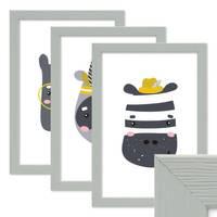 3er Set Bilderrahmen Grau mit Acrylglas 21x30 cm / DIN A4