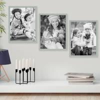3er Set Bilderrahmen Grau 30x42 cm / DIN A3 Massivholz mit Acrylglasscheibe / Fotorahmen Hellgrau / Wechselrahmen – Bild 4