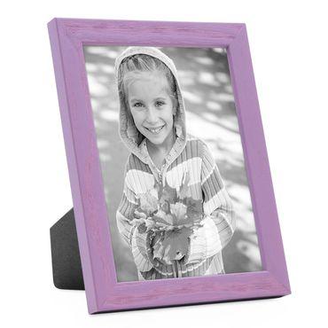 Bilderrahmen Lila 13x18 cm Massivholz mit Acrylglasscheibe / Fotorahmen Violett / Wechselrahmen