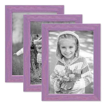3er Set Bilderrahmen Lila 10x15 cm Massivholz mit Acrylglasscheibe / Fotorahmen Violett / Wechselrahmen