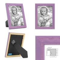 3er Set Bilderrahmen Lila 10x15 cm Massivholz mit Acrylglasscheibe / Fotorahmen Violett / Wechselrahmen – Bild 2