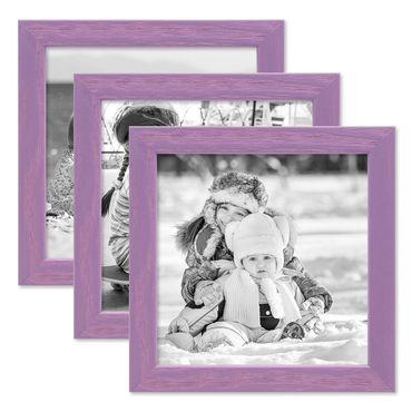 3er Set Bilderrahmen Lila 15x15 cm Massivholz mit Acrylglasscheibe / Fotorahmen Violett / Wechselrahmen