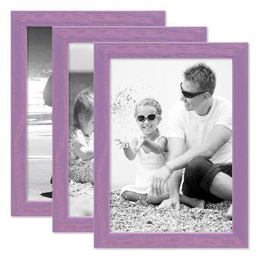 3er Set Bilderrahmen Lila 18x24 cm Massivholz mit Acrylglasscheibe / Fotorahmen Violett / Wechselrahmen