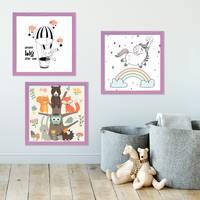 3er Set Bilderrahmen Lila 20x20 cm Massivholz mit Acrylglasscheibe / Fotorahmen Violett / Wechselrahmen – Bild 3
