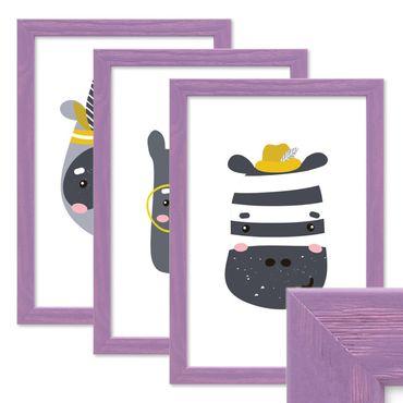 3er Set Bilderrahmen Lila 20x30 cm Massivholz mit Acrylglasscheibe / Fotorahmen Violett / Wechselrahmen