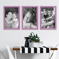3er Set Bilderrahmen Lila 21x30 cm / DIN A4 Massivholz mit Acrylglasscheibe / Fotorahmen Violett / Wechselrahmen – Bild 5