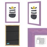3er Set Bilderrahmen Lila 21x30 cm / DIN A4 Massivholz mit Acrylglasscheibe / Fotorahmen Violett / Wechselrahmen – Bild 3