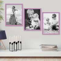 3er Set Bilderrahmen Lila 30x42 cm / DIN A3 Massivholz mit Acrylglasscheibe / Fotorahmen Violett / Wechselrahmen – Bild 4