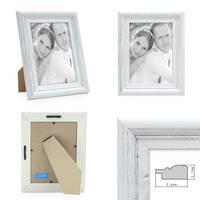 Bilderrahmen Landhaus-Stil Weiss Vintage Massivholz 10x15 cm / Fotorahmen / Portraitrahmen  – Bild 2