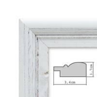 Bilderrahmen Landhaus-Stil Weiss Vintage Massivholz 10x15 cm / Fotorahmen / Portraitrahmen  – Bild 6