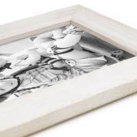 Holz-Bilderrahmen Weiss Lasiert Massivholz Gebürstet 10x15 cm / Holzrahmen / Fotorahmen – Bild 3