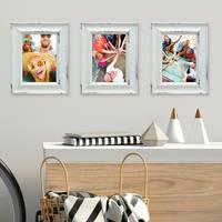 3er Set Vintage Bilderrahmen Landhaus-Stil Shabby-Chic Weiss Gekalkt 10x15 cm / Fotorahmen / Portraitrahmen  – Bild 7
