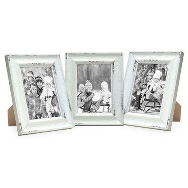 3er Set Vintage Bilderrahmen Landhaus-Stil Shabby-Chic Weiss Gekalkt 13x18 cm / Fotorahmen / Portraitrahmen