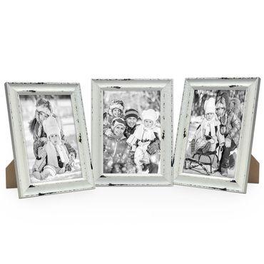 3er Set Vintage Bilderrahmen Landhaus-Stil Shabby-Chic Weiss Gekalkt 21x30 cm DIN A4 / Fotorahmen / Portraitrahmen