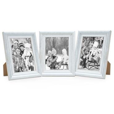 3er Set Bilderrahmen Landhaus-Stil Weiss Vintage Massivholz 15x20 cm / Fotorahmen / Portraitrahmen