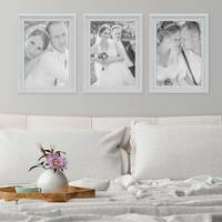 3er Set Bilderrahmen Landhaus-Stil Weiss Vintage Massivholz 21x30 cm / Fotorahmen / Portraitrahmen  – Bild 2