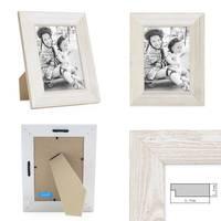 3er Set Holz-Bilderrahmen Weiss Lasiert Massivholz Gebürstet 10x15 cm / Holzrahmen / Fotorahmen – Bild 3