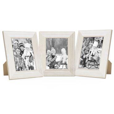3er Set Holz-Bilderrahmen Weiss Lasiert Massivholz Gebürstet 15x20 cm / Holzrahmen / Fotorahmen
