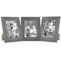 3er Set Holz-Bilderrahmen Grau Lasiert Massivholz Gebürstet 13x18 cm / Holzrahmen / Fotorahmen – Bild 1