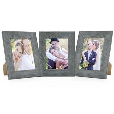 3er Set Holz-Bilderrahmen Grau Lasiert Massivholz Gebürstet 20x25 cm / Holzrahmen / Fotorahmen