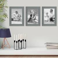 3er Set Holz-Bilderrahmen Grau Lasiert Massivholz Gebürstet 21x30 cm DIN A4 / Holzrahmen / Fotorahmen – Bild 2