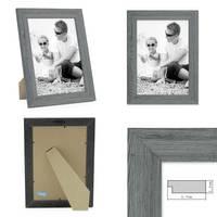 3er Set Holz-Bilderrahmen Grau Lasiert Massivholz Gebürstet 21x30 cm DIN A4 / Holzrahmen / Fotorahmen – Bild 3