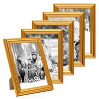 5x Bilderrahmen Gold Barock Antik 13x18 cm Fotorahmen mit Glasscheibe / Kunststoffrahmen – Bild 1
