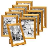 10x Bilderrahmen Gold Barock Antik 13x18 cm Fotorahmen mit Glasscheibe / Kunststoffrahmen